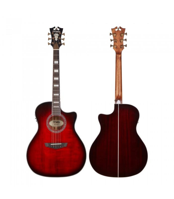 D'Angelico Premier Gramercy Trans Black Cherry burst ozvučena akustična gitara