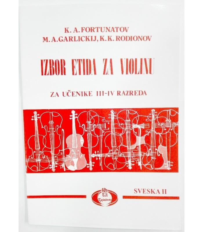 Izbor etida za violinu III - IV razred K.A.Fortunatov M.A.Garlickij K.K.Rodionov